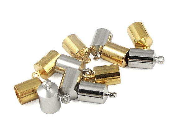Mixed Kumihimo Cord End Caps Kumihimo Supplies Gold and Silver 6mm Kumihimo Caps (FS5)