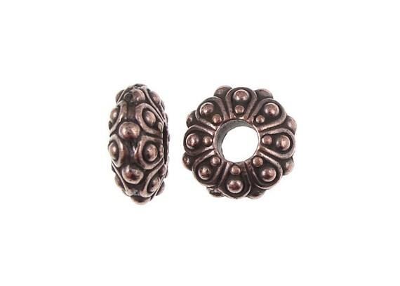 4+ Large Hole Beads TierraCast 12mm Casbah EuroBead Spacers for European Style Chain Bracelets - Antique Copper (P1006)