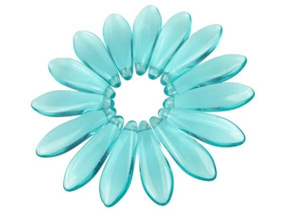 50 LIGHT AQUA Beads - 16mm x 5mm Dagger Beads - Light Aquamarine Blue Briolette Beads - Czech Glass Beads - Nautical Sea Beach Colors