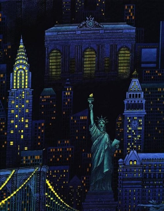 New York City Night Skyline Fabric 40 inches LAST IN STOCK