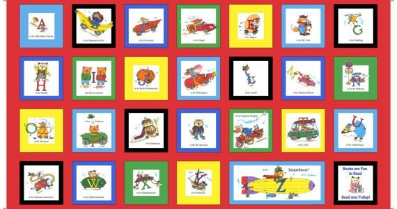 Busytown A to Z Squares Richard Scarry Fabric Panel LAST IN STOCK