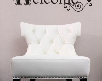 Welcome Wall Decal Vintage Sign - Vinyl Text Wall Words Stickers Art
