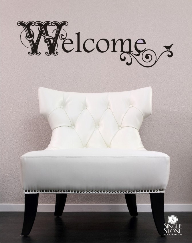 welcome wall decal vintage sign vinyl text wall words vintage woman silhouette wall sticker wall stickers
