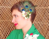 Shanghai Fan Rockabilly Burlesque Peacock Feather Fascinator