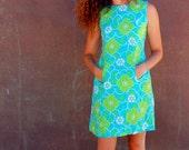 Tropical Teal Lime Mod Mini Dress . . . . . handmade ooak . . . . . medium