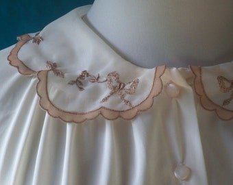Miss Elaine Vintage 50s Bed Jacket Combing Jacket  Bow Embroidered Nylon Tricot M L
