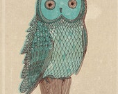 blue owl monotone - an archival quality art print - Small and Medium size