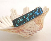 """Teal dichroic dragonflies on black - fused glass barrette - 3"""""""