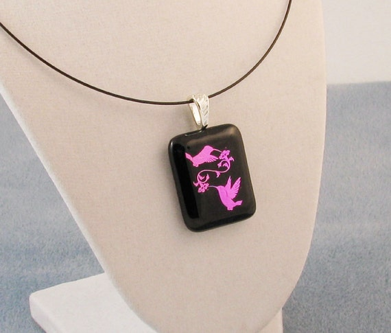Fused glass pendant - Dichroic Hummingbirds - Hummingbird Jewelry - dichroic glass jewelry - hummingbird necklace (2637)