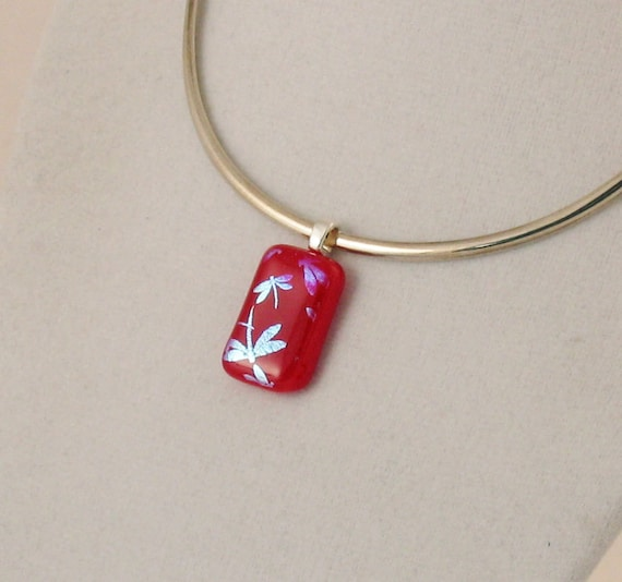 Silver dragonflies on RED glass pendant - small dichroic glass jewelry - dragonfly pendant  (2711)