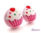 Cupcake earrings - Pink cupcake stud earrings - Cupcake posts - Cupcake studs - Cupcake post earrings sf826