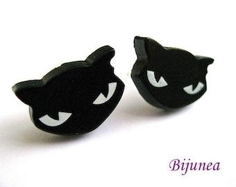 Black cat stud earrings - Cat stud earrings - Black cat posts - Black cat post earrings - Black cat studs