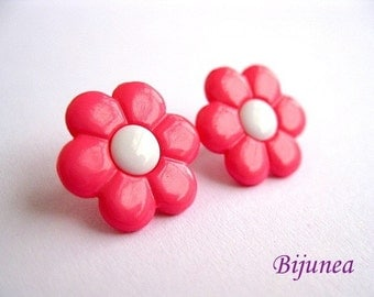Pink flower stud earrings - Pink flower studs - Flower post earrings - Flower posts
