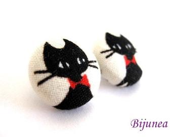 Cat earrings - Black cat stud earrings - Black cat post earrings - Black cat posts sf449