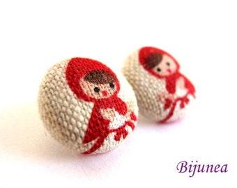 Red Riding Hood earrings studs sf464