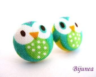 Owl earrings - Blue owl earrings - Bird owl studs - Bird owl stud earrings - Blue owl posts - Bird owl post earrings sf556