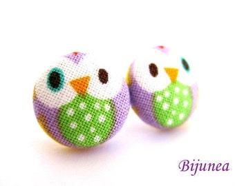 Owl earrings - Purple owl stud earrings - Owl studs - Owl post earrings - Lavender owl earrings sf555