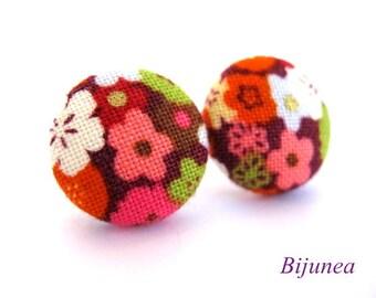 Flower earrings - Flower stud earrings - Brown flower studs - Flower posts - Flower post earrings sf708