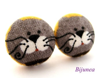 Cat earrings - Grey cat stud earrings - Cat studs - Grey cat posts - Grey cat post earrings sf854