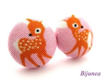 Deer earrings - Pink deer stud earrings - Animal earrings - Deer posts - Deer studs - Orange deer post earrings sf858