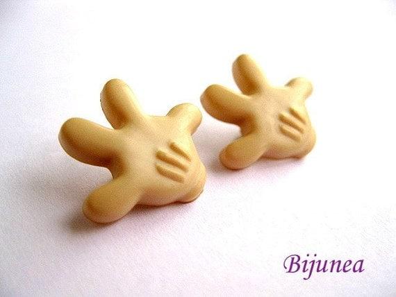 Gloves earrings - Glove stud earrings - Gloves post earrings - Mickey gloves studs