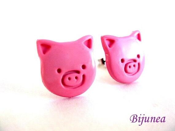 Pig earrings - Pink pig stud earrings - Pig studs - Pig post earrings - Pig posts - Pink pig earrings sp268