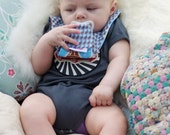 Ice Cream and Blue Houndstooth Pacifier Bib