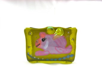 Flying Pink Pig Business Card Holder
