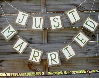 Just Married Banner in Fern Green and Kraft Brown - rustic outdoor wedding decoration