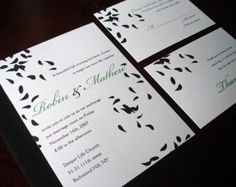 Casual Wedding invitations, Classic Petals wedding invitation, floral simple invites, elegant wedding invitation, unique inexpensive invite