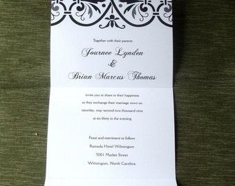 Black and White Damask Seal and Send, Monogram Wedding Invitation, elegant Wedding Invitations, unique bat mitzvah Invite, folded invitation