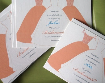 Will you be my bridesmaid cards, bridesmaid invitations, Peach bridal party card, maid of honor, Fun Bridesmaids invitations, Personalized