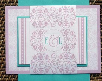 Pink Wedding Invitation set, Romantic wedding invitations, turquoise invitation suite, Elegant Sweet 16 invitation, bat mitzvah invites