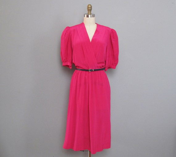 s a l e vintage HOT PINK silk dress L