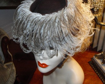 Vintage 20's Very Rare Riding Hat Ostrich Feathers and Chin Strap Perfect Kentucky Derby Hat