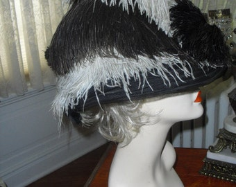 REDUCED Very Rare Original Victorian Ostrich Feathered Hat  Most Amazing Beauty Black and White Kentucky Derby Worthy