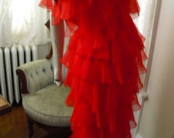 SALE    CUTE CUTE  Vintage Ruffle Chiffon 80's Red Dress is Cute As Can Be