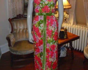 Vintage 50's 60's Fresh Summer Floral Perfect Easter With Hand Beading Designer Gale Mitchell 50s 60s Gown