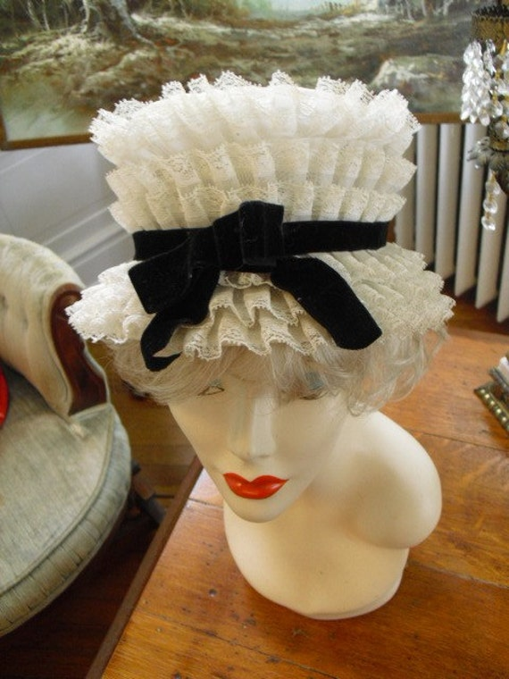 Vintage Very Rare Ruffle Tulle with Black Velvet Bow 40's 50's Hat