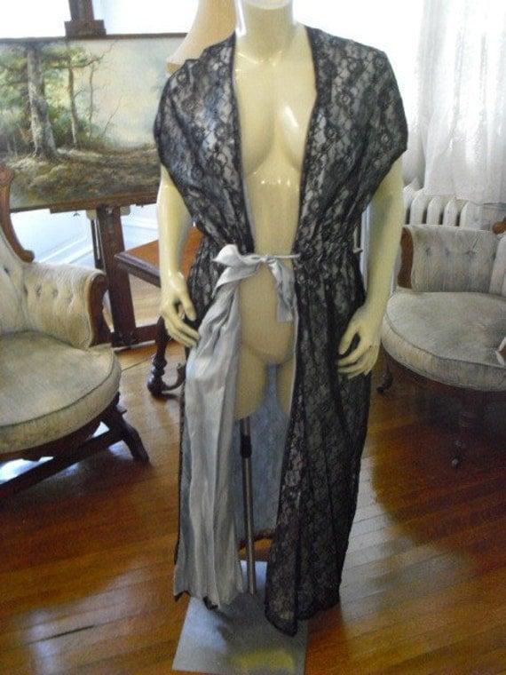 Vintage Designer Blue Satin and Black Lace House Coat
