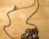 SALE One of a kind vintage rhinestone art nouveau necklace - The Sea Princess -