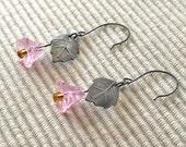 Pink and Grey glass Spring Bellflower earrings