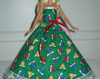 Barbie Doll Christmas Holiday Dress Handmade Strapless Gown Green with Angels