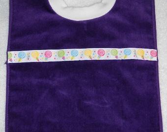 Terry Cloth Towel Baby Bib Purple with Lollipop Trim