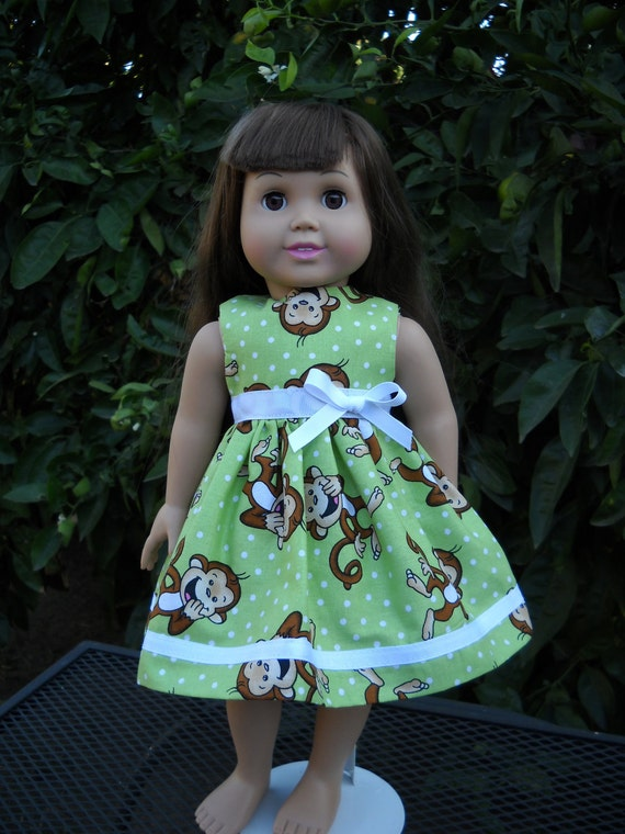 American Girl 18 inch Doll Dress Handmade Green with Monkeys Dress