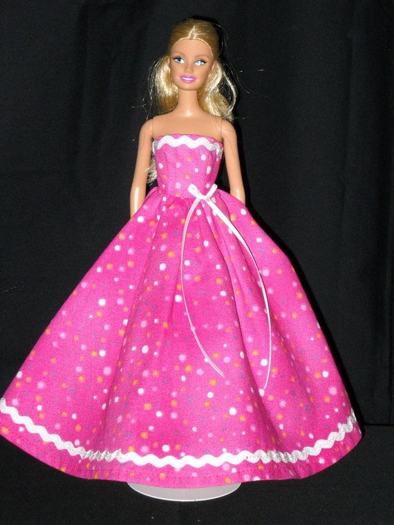 Barbie Doll Dress Handmade Pink with Dots Gown