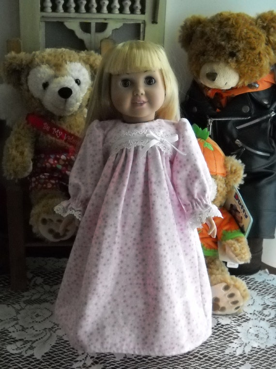 """Nightgown for American Girl 18"""" Doll Handmade Light Pink with Stars"""