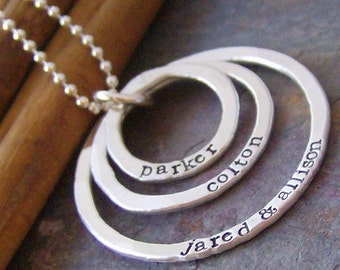 Tripple eternity ring... sterling silver hand stamped mothers personalized necklace