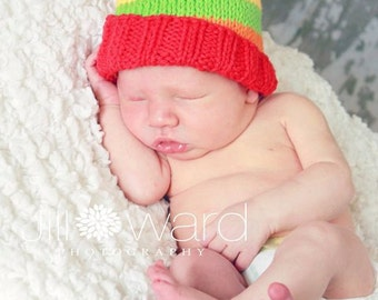 hand knit cotton baby hat size 0 - 6 months - great photo prop