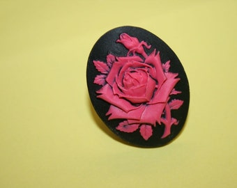 Hot Pink & Black Rose Cameo Ring